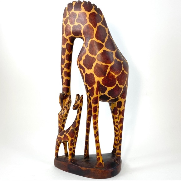 None Other - African Giraffe Baby Wood Hand Carved Made Kenya
